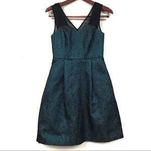Anthropologie hd  Paris green metallic mini dress